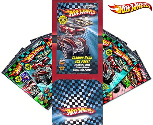 Party Pack Hot Wheels Trading Cards 48 Packs Mega display box with Tattoo & Mini Games Fun Race Car Cards Collectible hobby card (Cars Hot Stickers Wheels)