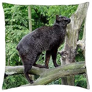 Black Wild Cat - Throw Pillow Cover Case (18