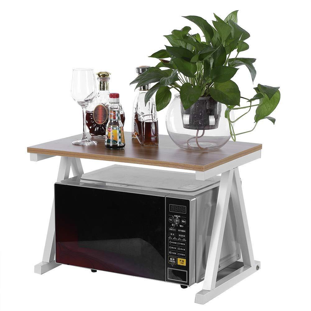 2 Tier Utility Microwave Oven Stand, Kitchen Baker's Rack Storage Rack Kitchen Cabinet Counter Workstation Shelf Organizer, 22.44''14.96''14.96'' (White)
