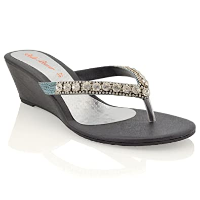 a6d1be797a8164 ESSEX GLAM Womens Low Heel Wedge Diamante Flip Flop Black Synthetic Toepost  Sparkly Slip On Sandals