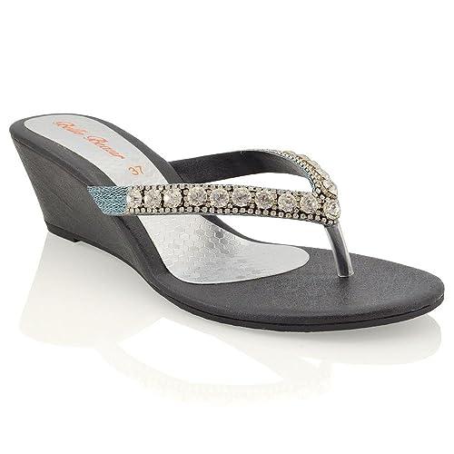 ESSEX GLAM Womens Low Heel Wedge Diamante Flip Flop Black Synthetic Toepost  Sparkly Slip On Sandals 0437ead01c