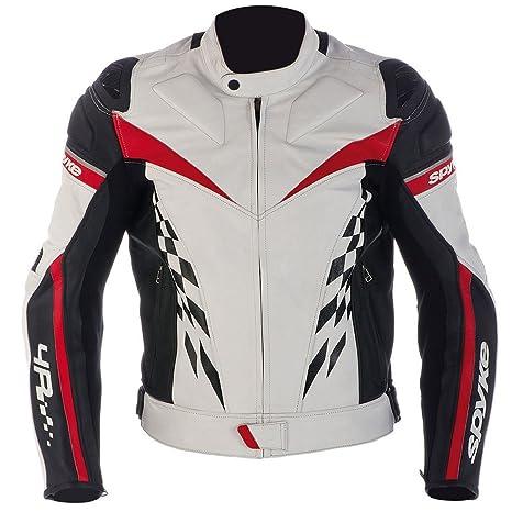 Chaqueta de piel para hombres Spyke 4 Race Chaqueta moto con protección CE Aprobado (58