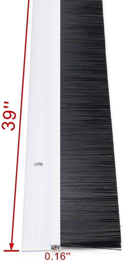 Bottom sweep of the door White aluminum alloy with 1.4 inch black PP soft silicone brush with 39 inches x 2.3 inches