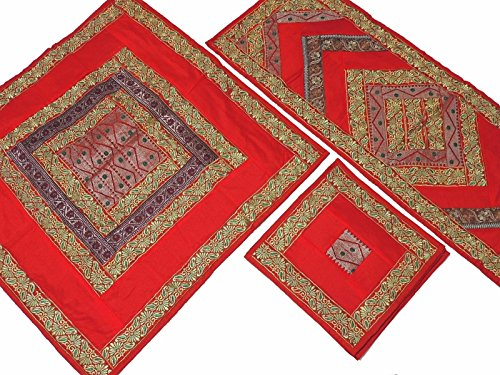 NovaHaat Red Embroidered Elegant Tablecloth, Table Runner and 4 Placemats Set in Dupioni Art Silk ~ Tablecloth - 40 Inch, Runner - 60 Inch x 20 Inch, Placemats - 16 ()