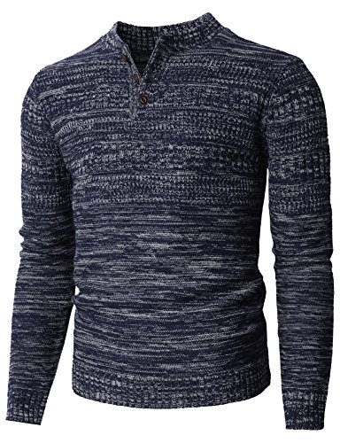 H2H Mens Casual Slim Fit Crew-Neck Lambswool Henley Sweater NAVYWHITE US M/Asia L (KMOSWL0127) ()