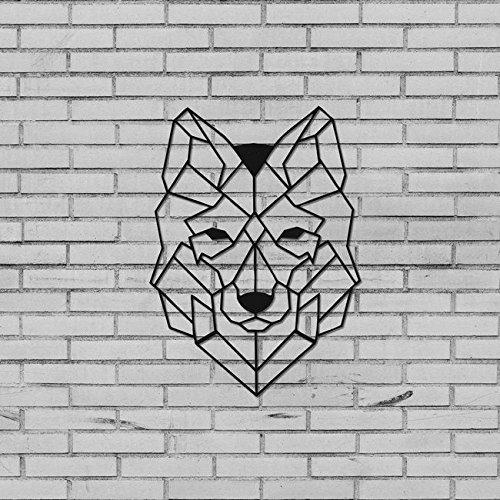 Metal Decor Decoro Mural Design Géométrique En Métal Wolf Noir