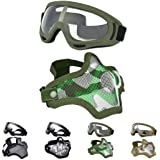 Outgeek Airsoft Half Face Mask Steel Mesh and Goggles Set