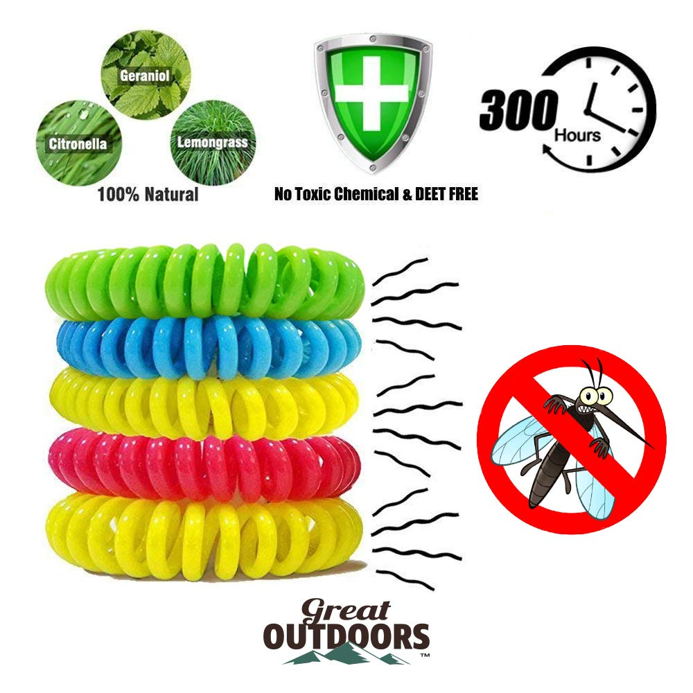 Natural Mosquito Repellent Bracelets - GREAT OUTDOORS ™- Insect Bug Protection up to 300 Hours Bands, Deet-Free Wristband, Pest Control Bands for Kids & Adults 22 Pack & 6 Patches (22)