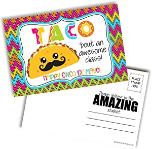 Taco 'Bout An Awesome Class Happy Cinco de Mayo Blank Postcards For Teachers To Send To Students, 4