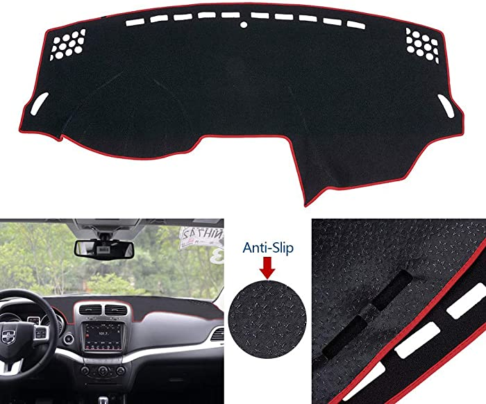 ATMOMO Car Dashboard Cover Double Anti-Skid Dashboard Mat Center Console Protector Cover Mat Sunshield Cover Mat Compatible with Dodge Journey 2013-2015, Red Line