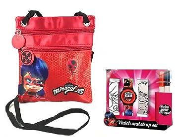 Ladybug miraculous Bolsa de Hombro + miraculous ladybug Reloj Digital y Correas de Color: Amazon.es: Equipaje