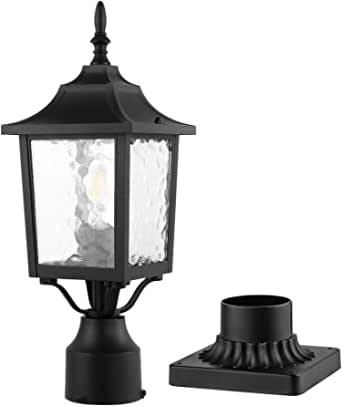 Post Light,CINOTON Lamp Post Light Fixture with 3-Inch Pier Mount Base, Waterproof Post Lantern with Water Rippled Glass, Matte Black Finish, Outdoor Post Lights for Patio, Yard, Garden, Pathway