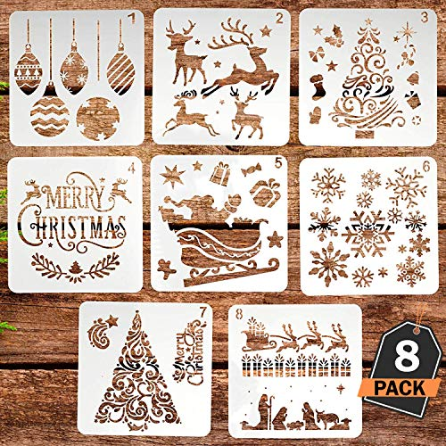 Christmas Stencils Set, Plastic Decorating Tool for Christmas Cards and Children's Crafts, Washable, 8 Different Designs