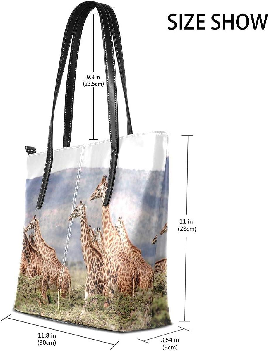 Africa Animals Giraffes Womens Large Lightweight Tote Bag Shoulder Bag for Gym Hiking Picnic Travel Beach Shopping PU Leather Handbag