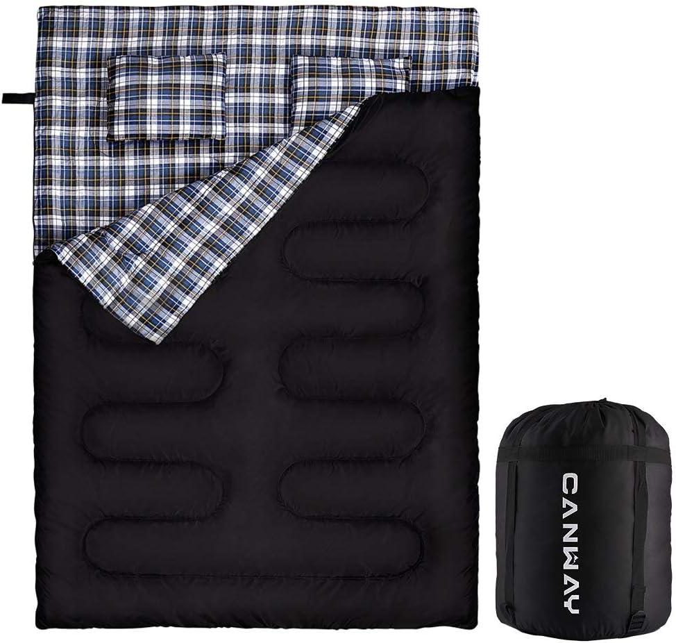 Waterproof Outdoor 2 Person Sleeping Bag Double w//2 Pillows Queen Size XL Blue