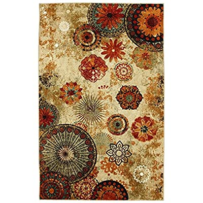 New Medallion Floral Shapes Area Rug 8 Feet X 10 Feet , Multicolor, Multi Color,Carpet, Soft Rug, Stain Resistant, Foyer, Dining Room, Living Room, Bedroom