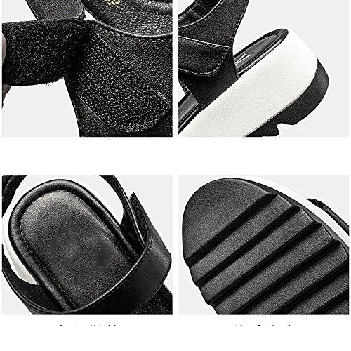 XIAOLIN ヒール高さ4.3cm夏のスロープヒールサンダルスポーツレジャー学生ミドルヒールサンダルレディースサマービーチシューズユニークなデザインスタイルの弾性サンダル(オプションのサイズ) (色 : 白, サイズ さいず : EU39/UK6.5/CN40)