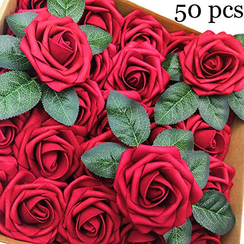 Artificial Flowers Bulk - Mothers Day Decorations Red Fake Rose Wedding Bridal Bridesmaid Bouquet Centerpieces Arrangements Party Birthday Gifts Home Hotel DIY Decor (50 pcs) ()
