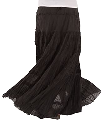 Skirts 'N Scarves Women's Casual Cotton Long Maxi Skirt (Black) at ...