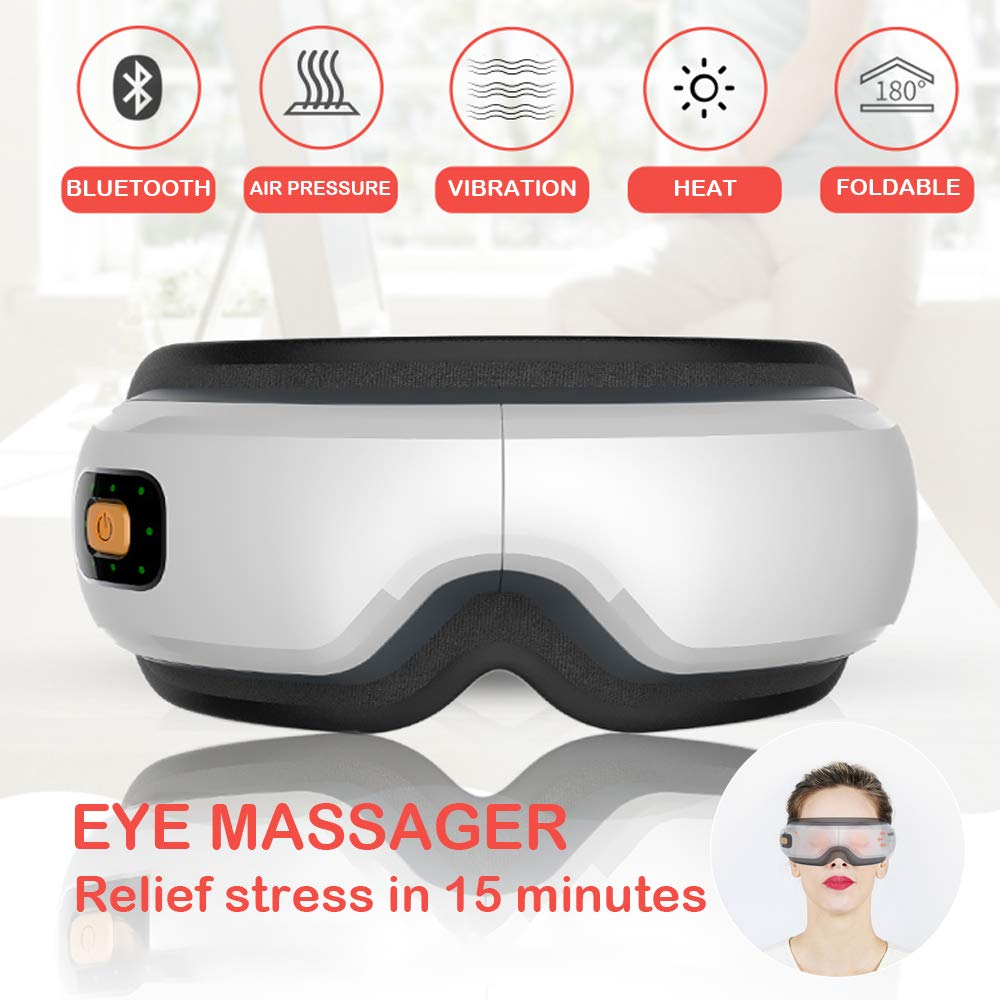 Eye Care Massager Accupoint Air Pressure, Bluetooth Music + Vibration + Heating Compress Therapy, USB Wireless Rechargeable Foldable Temple Massage for Darkcircle, Dry Eyes, Stress, Headaches Relief