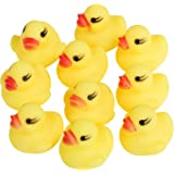 TRIXES Rubber Ducks Mini X 10 - Squeaky - Yellow Bath Duck - 4cm Christmas Stocking Filler