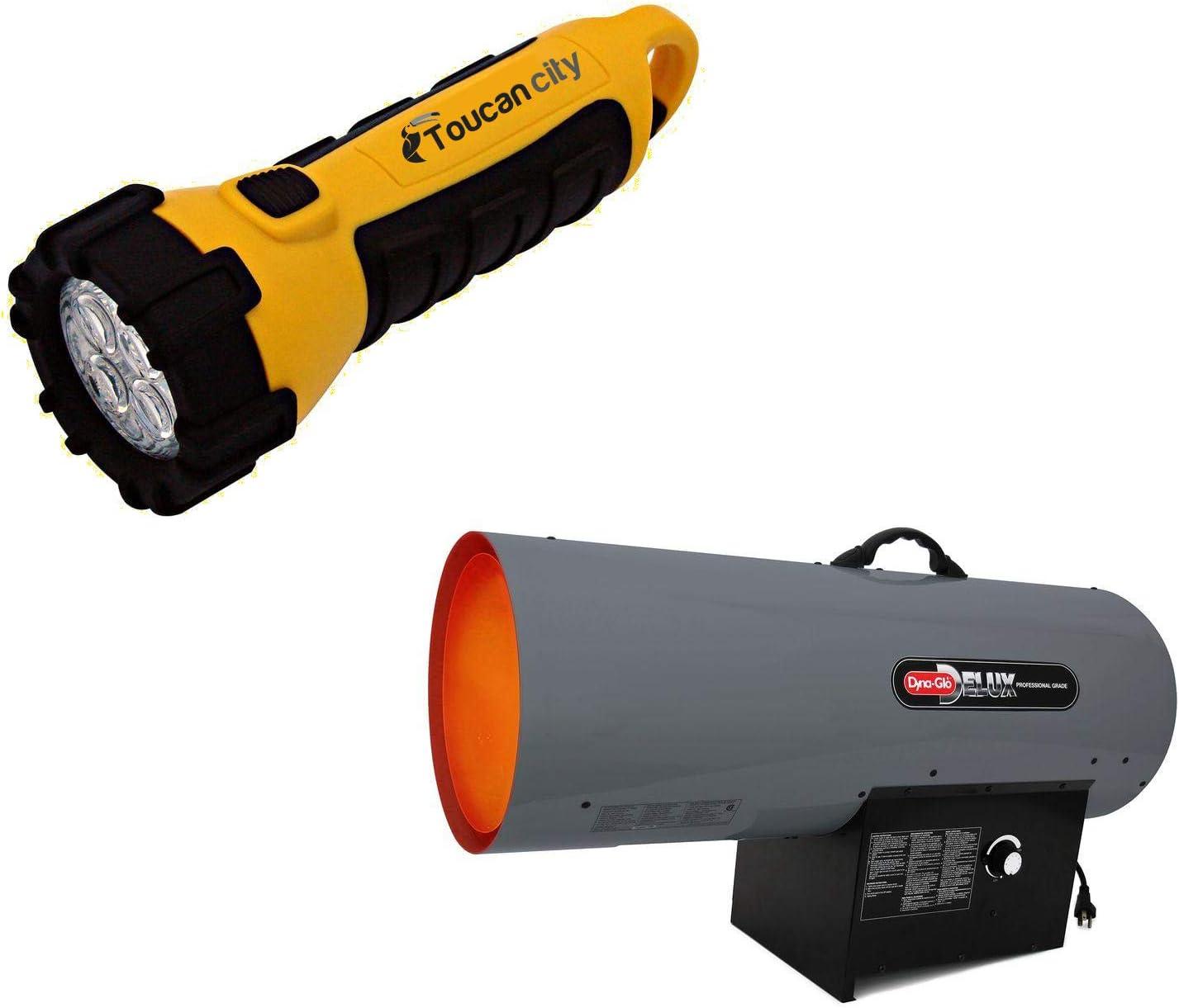 Toucan City LED Flashlight and Dyna-Glo Pro 30K-60K BTU Propane Forced Air Heater RMC-FA60DGP