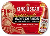 King Oscar Wild Caught Brisling Sardines in Tapatio Hot Sauce, 3.75 Ounce (Pack of 12)