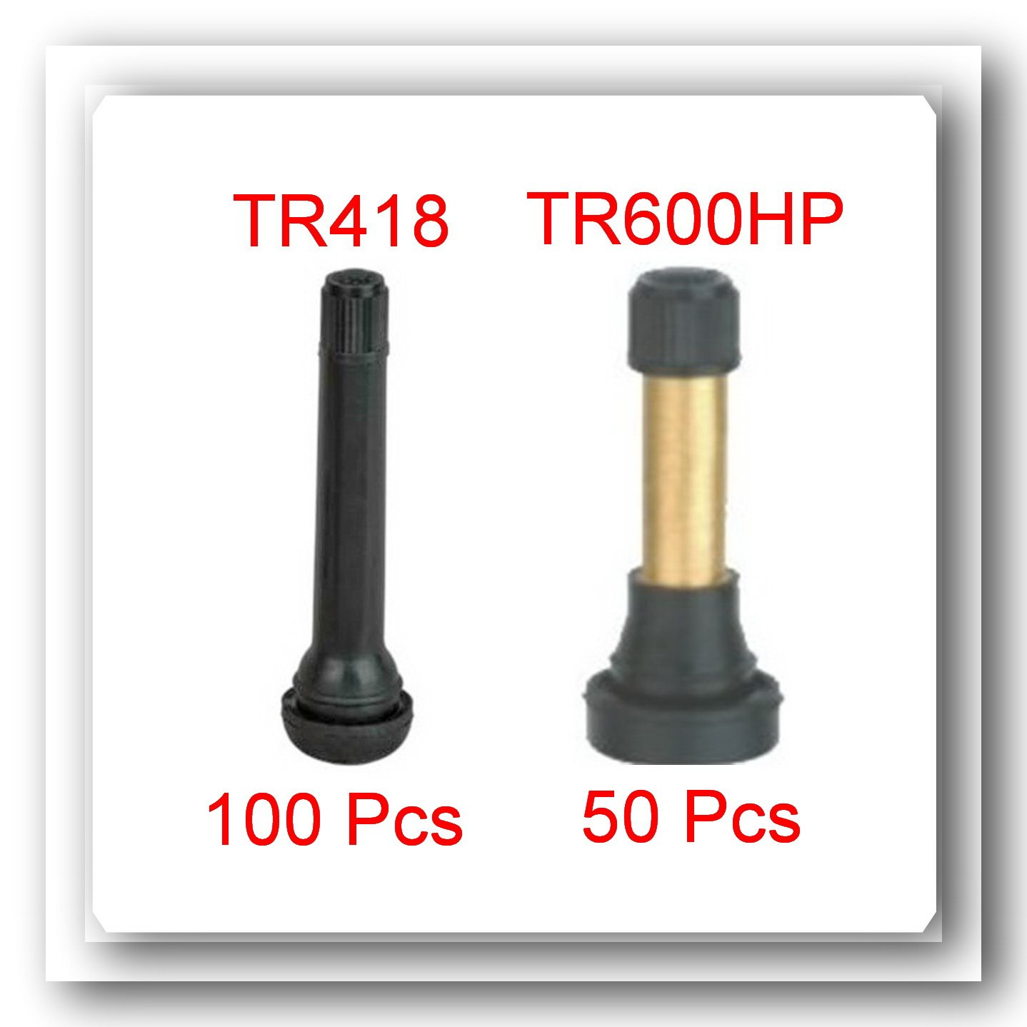 LOT 150 Snap-in Tubeless Rubber Valves (100 x TR418) (50 x TR602HP High Pressure Tire Wheel Valve Stem) by VPro
