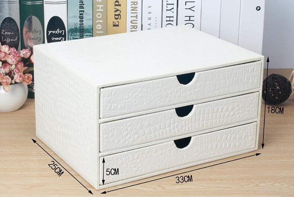 Home Office Furniture 33X25X18CM MDF Color : White File Cabinets Strong Collision Resistance Organizational Needs Reasonable Storage Beautiful Design Leather