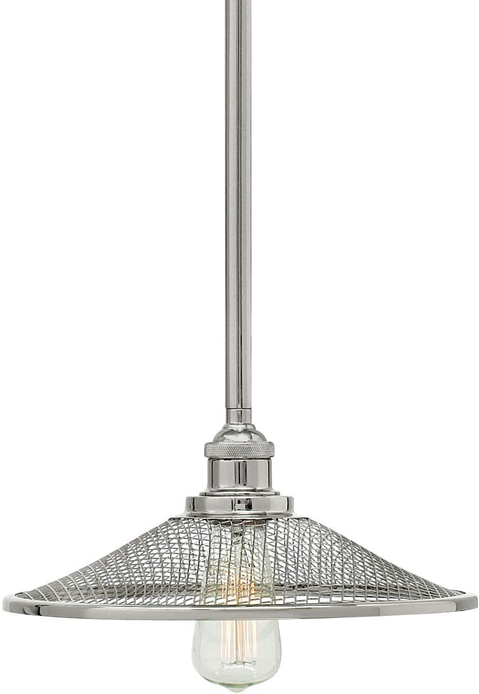 Hinkley 4367PN Restoration One Light Pendant from Rigby collection in Chrome, Pol. Nckl.finish,