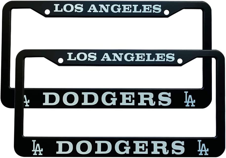 Generies HM-DC 2pcs Baseball Team Logo License Plate Frames with Screw Caps Set Stainless Steel Frame Applicable to US Standard Cars License Plate fit Dodgers