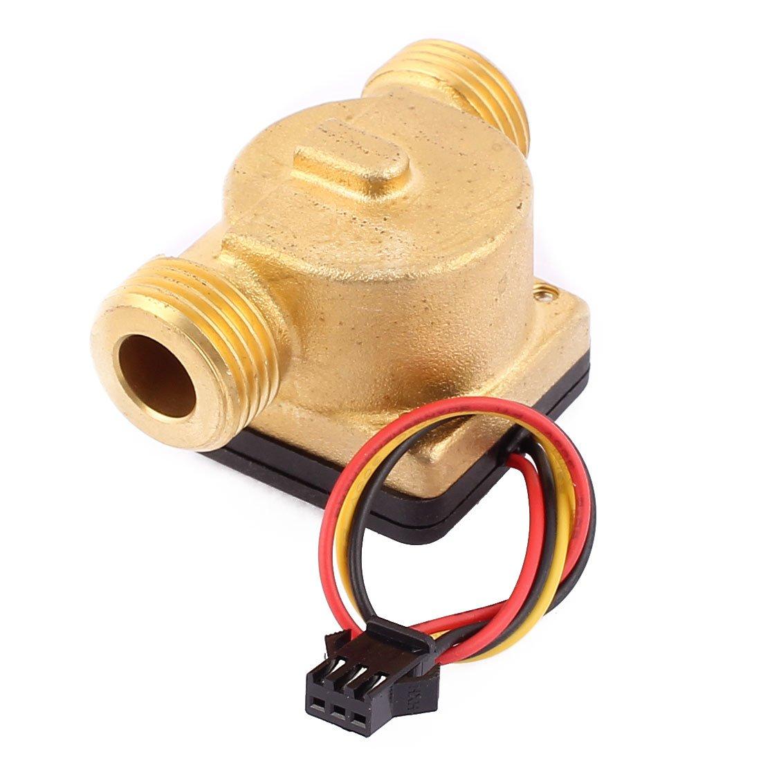 uxcell G1/2'' Thread Hall Effect Liquid Water Flow Sensor Flowmeter Fluidmeter 1-30L/min SEN-HZ21WC