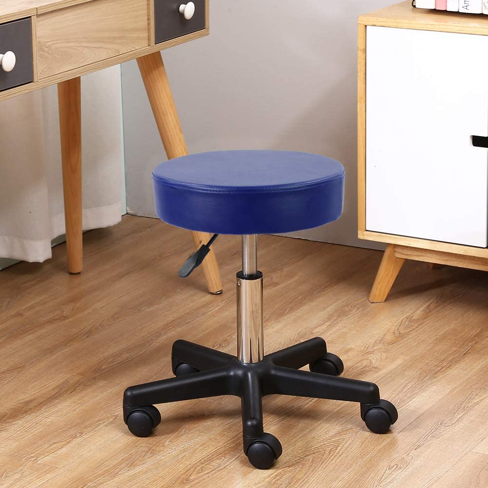 KKTONER Round Rolling Stool PU Leather Height Adjustable Swivel Drafting Work SPA Medical Salon Stools Chair with Wheels… (Pink) Blue