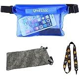 QSFINE 防水ケース防水財布バッグストレージポータブルデブリ、防水携帯ケース水泳サーフ必要な3層保護、小型ポケット大容量携帯電話の財布のキー眼鏡最大サポートipadのミニ、アウトドアスポーツライド、ビーチスイミングダイビング、釣りに適して