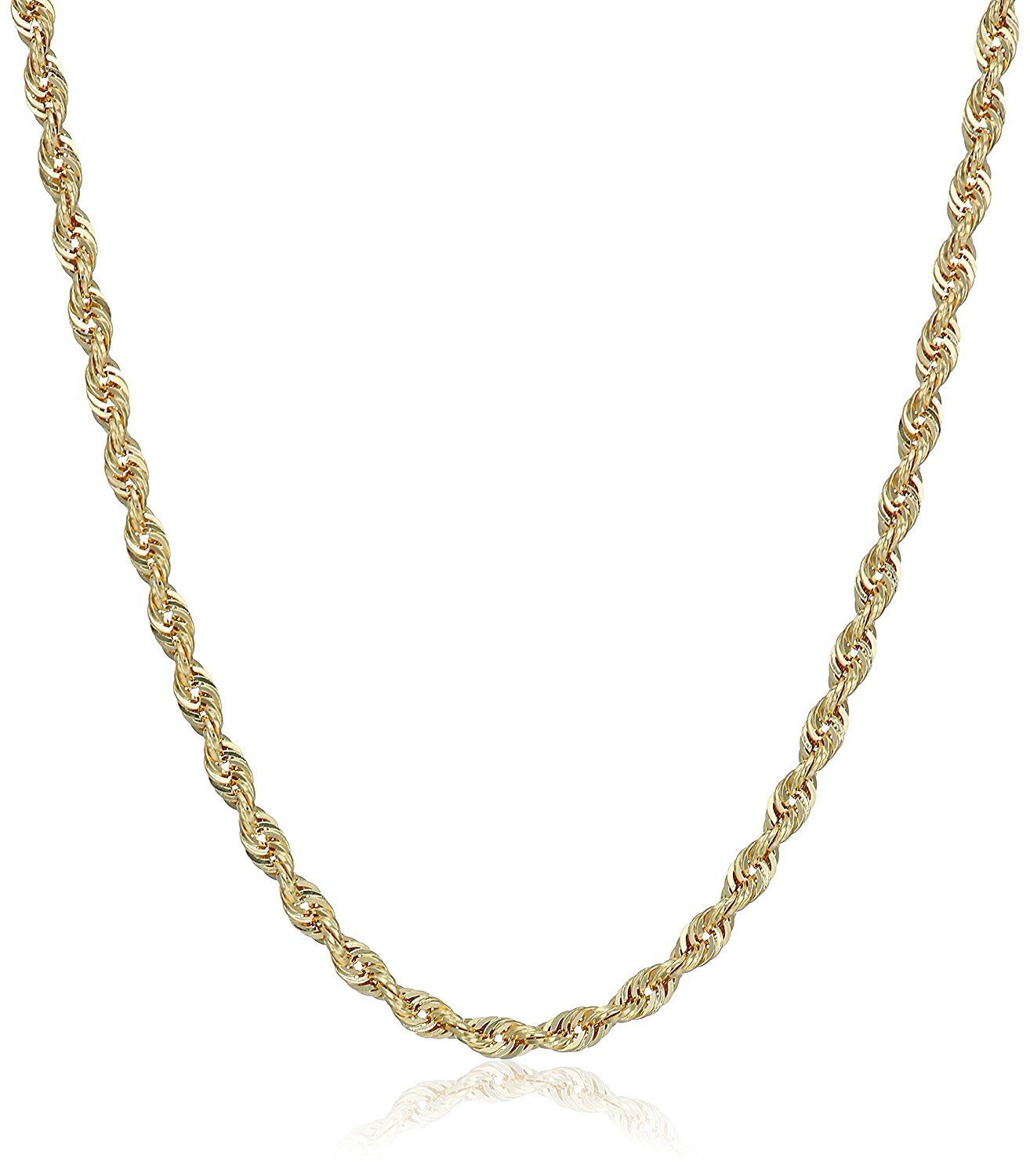 10K Gold 3.0MM Diamond Cut Rope Chain Necklace Unisex Sizes 7''-30'' (26)