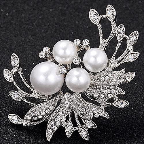 Brooch Ladies Exquisite Pearl Love Diamond Pin Wedding Or Mothers Day