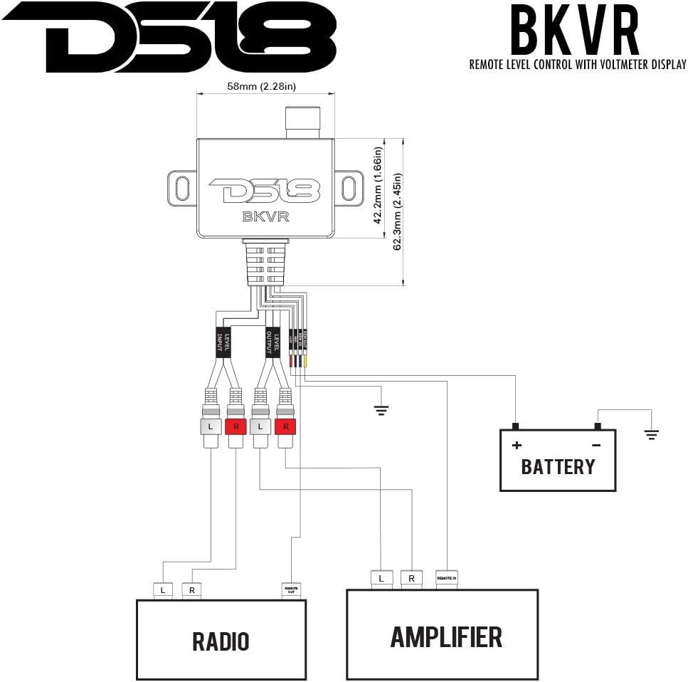 DS18 BK VR Bkvr Remote Amplifier Level Controller with LED Volt-Meter Bass Knob