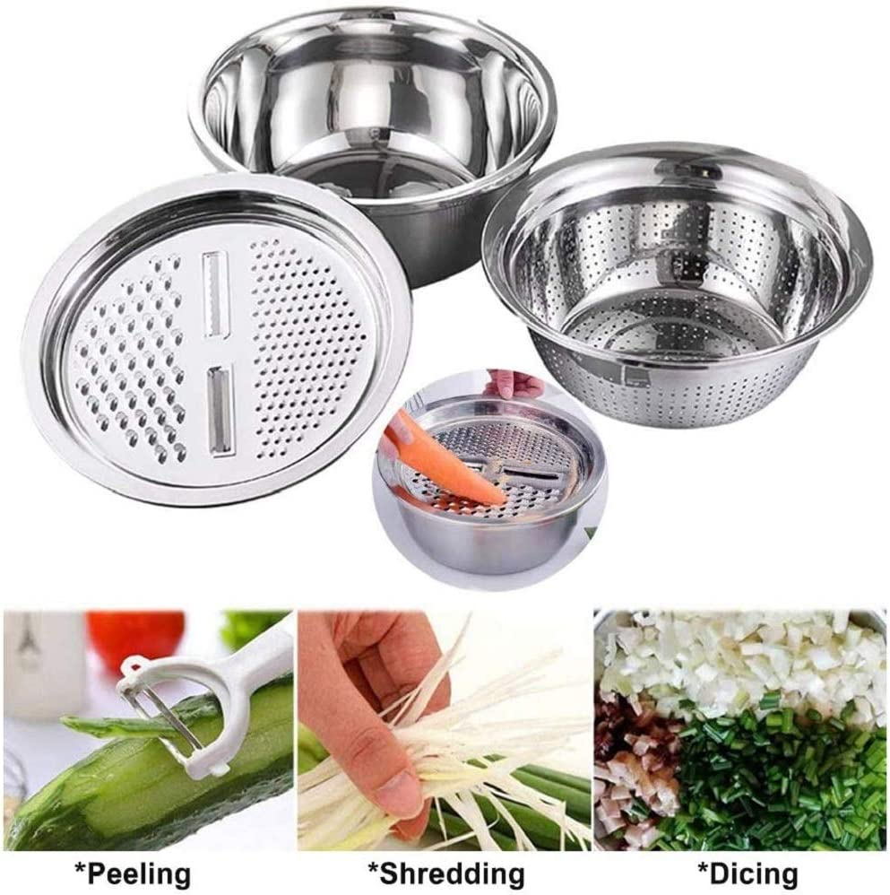 3 in 1 Kitchen Multipurpose Julienne Grater for Vegetables Fruits Cheese 26cm (3 in1) Multifunctional Stainless Steel Basin, Drain Basket Vegetable Cutter