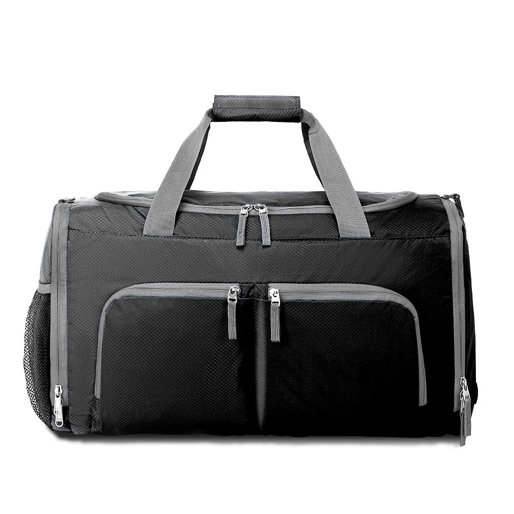 Packable Sports Gym Bag with Shoes Compartment, Foldable Waterproof Travel Luggage Duffel Bag for Men Women 3570-Black