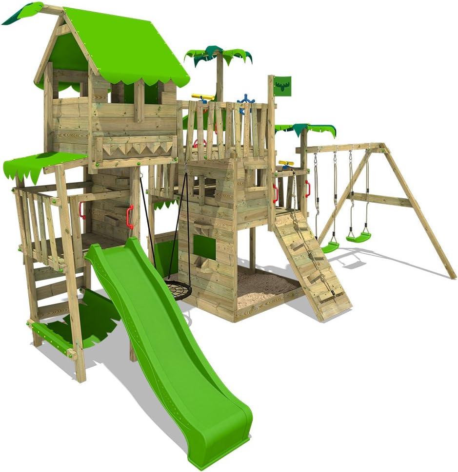 FATMOOSE Parque infantil de madera PacificPearl Pro XXL con columpio y tobogán, Casa de juegos de jardín con arenero y escalera para niños: Amazon.es: Bricolaje y herramientas