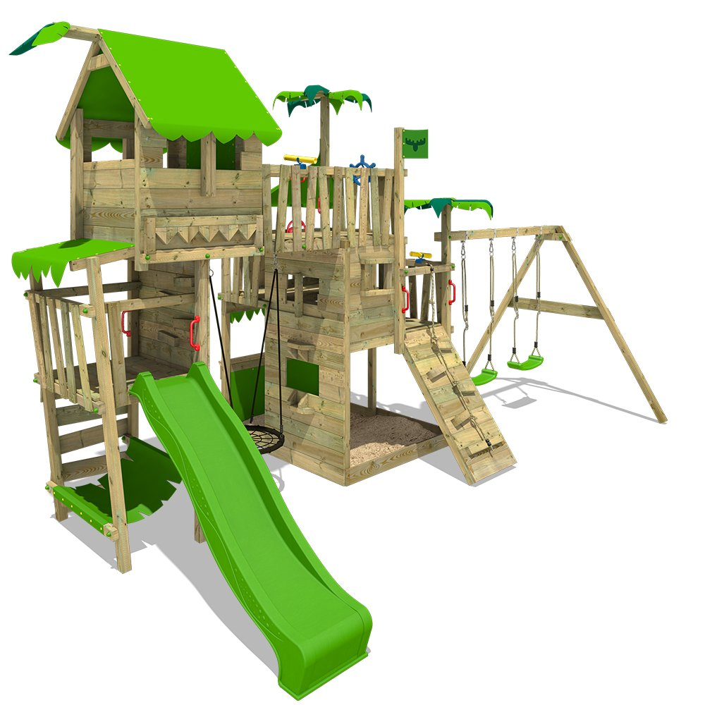 FATMOOSE Jungle Play Tower PacificPearl Pro XXL Climbing Frame Playground with Tree House on Platform, Various Levels, nest Swing and XXL Sandbox