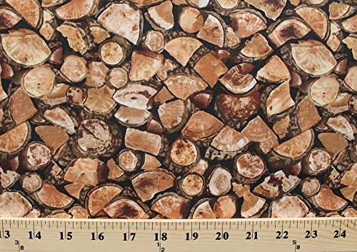 Cotton Chopped Stacked Firewood Wood Pieces Bonfire Logs Log Pile Bark Cabin Camping Outdoor Landscape Brown Cotton Fabric Print by the Yard (cabin-c1667)