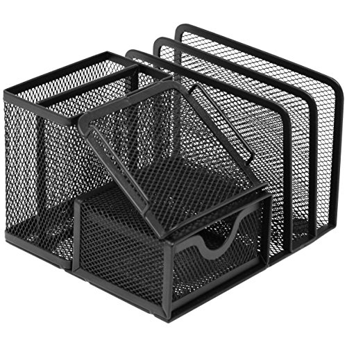 Mesh Office Desk Organizer with 6 Compartments + Drawer - Can Be Used On Desktop | Table | Counter in Kitchen or Work Space - Black