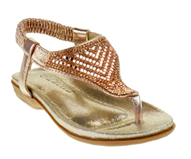 fddbaebba Lucita Crab 1748KS Little Girls Rhinestone Comfort Thong Sandals Champagne  6 Toddler