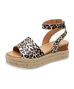 Sandalias Mujer con Sandalias Wedge Plateau con Correa en el Tobillo Sandalias Bajas de Verano Alpargatas de Punta Abierta Zapatos Elegantes para Mujer Cómodos (38 EU, Leopardo)