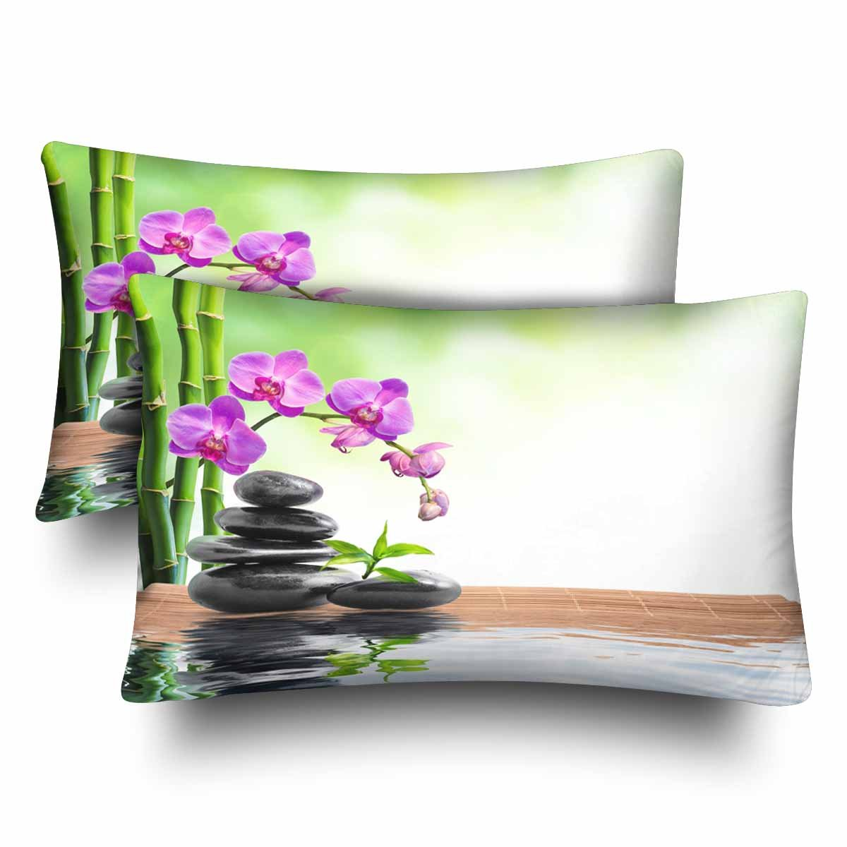 InterestPrint Spa Bamboo Orchids Water Pillow Cases Pillowcase Queen Size 20x30 Set of 2, Rectangle Pillow Covers Protector for Home Couch Sofa Bedroom Decoration