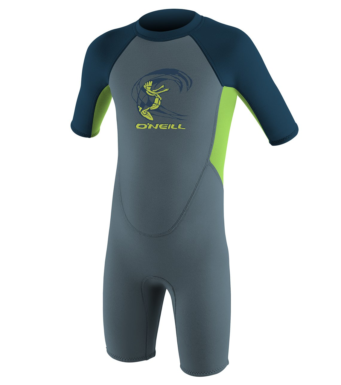 O'Neill Toddler Reactor-2 2mm Back Zip Short Sleeve Spring Wetsuit, Blue/Dayglow/Slate, 3 by O'Neill Wetsuits