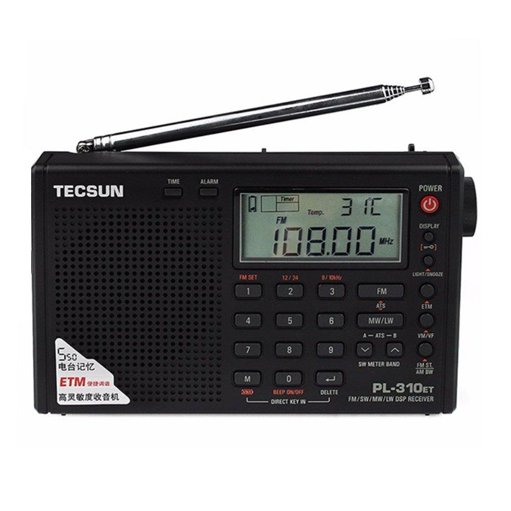 TECSUN PL-310ET FM Stereo/SW/MW/LW World Band PLL DSP Portable Radio Black with Alarm Clock
