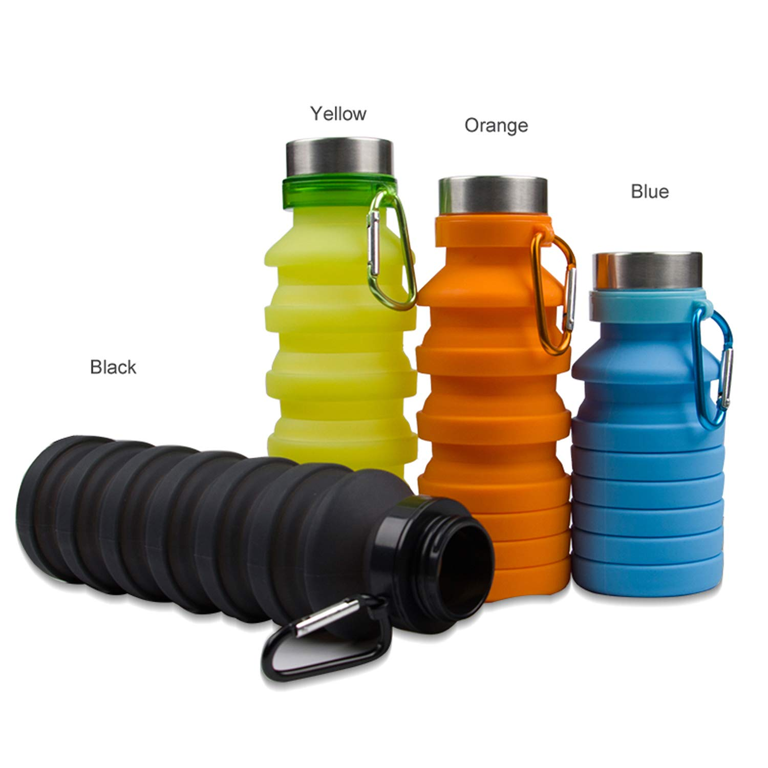 HRDiQiu Collapsible Water Bottle Silicone BPA Free Leakproof Lightweight Portable Foldable Sports Travel Camping Outdoor Water Bottles with Carabiner