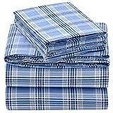 EnvioHome 160 Gram Flannel 4 Pc Sheet Set - Queen, Blue Plaid